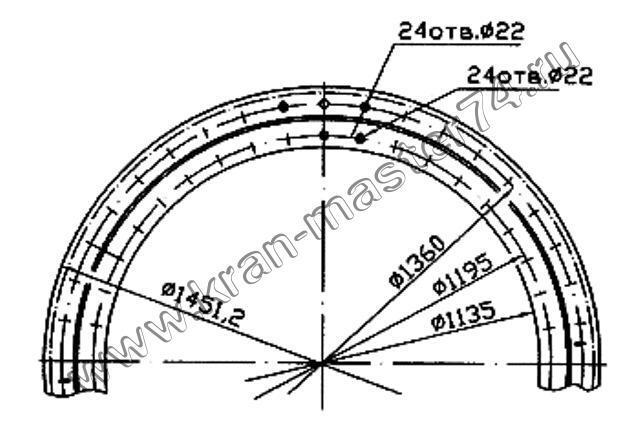 Опора поворотная КС-55713.17.100-01 автокрана КС-35719, КС-4572, КС-4572А, КС-4579, КС-45719