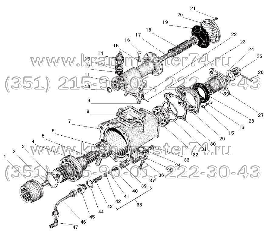Коробка дополнительного отбора мощности автокрана КС-3574.14.100  КДОМ Урал 5557-4202010