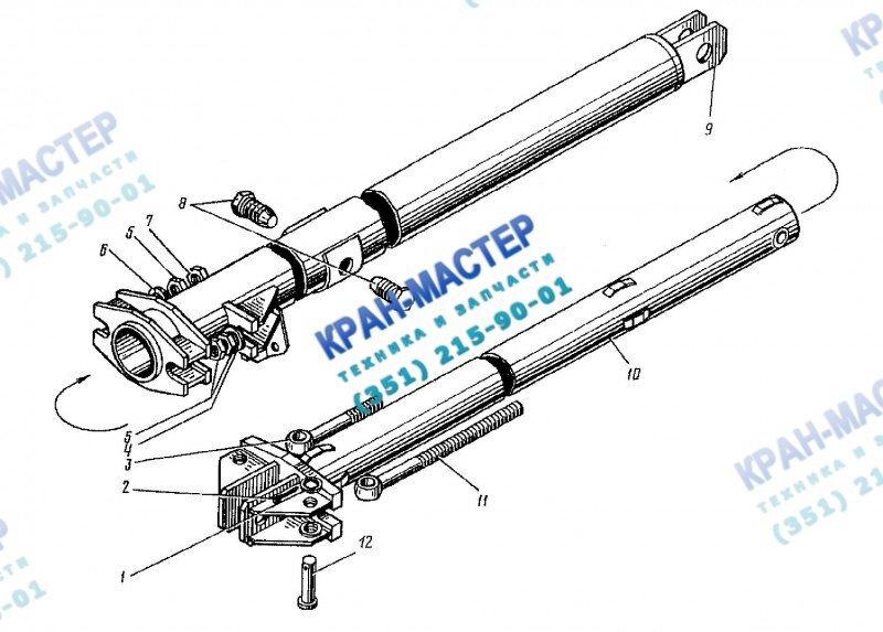 Подкос телескопический левый КБ-401А.02.04.000 для башенного крана КБ-401А