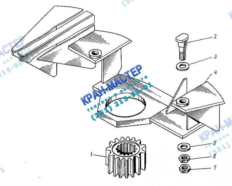 Установка механизма поворота КБ-401А.02.10.000 башенного крана КБ-401А