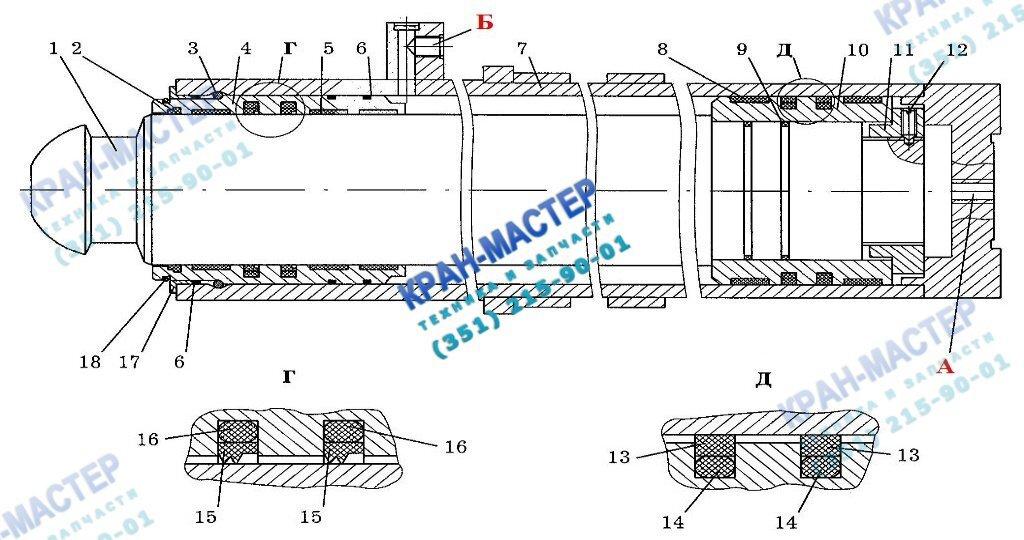 Гидроцилиндр 59.125.00.00 вывешивания крана (гидроопора) - устройство и принцип работы