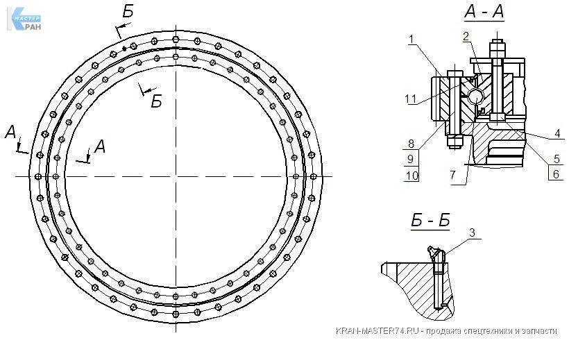 Структурный чертеж опоры поворотной - опора поворотная КС-4574-17.100-04 для автокранов Клинцы КС-45719, КС-55713