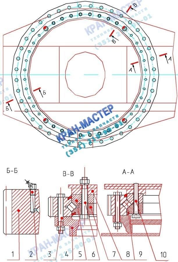 Опора поворотная ОПУ КС-45717.17.100 (40 отв.) - структурный чертеж опоры поворотной