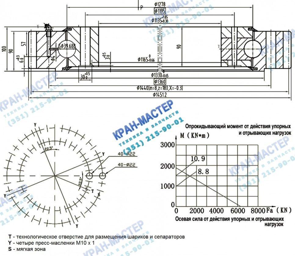 Опорно-поворотное устройство ОПУ 1451 (40 отв.) с буртиком (проточкой)  - габаритный чертеж опоры поворотной КС-55713.17.100А