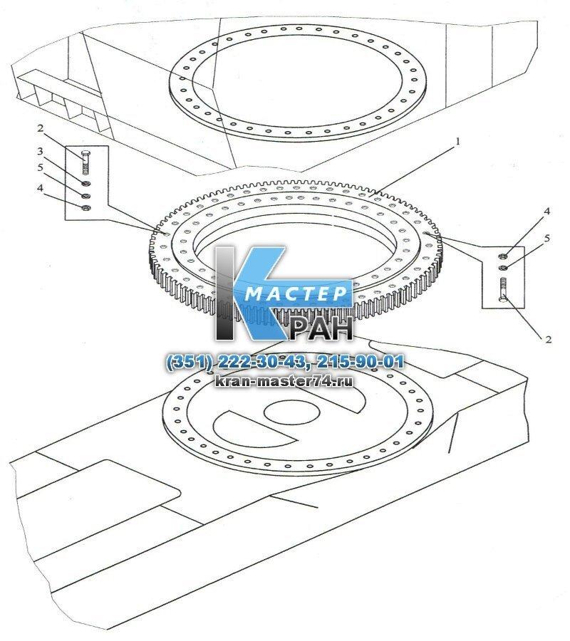 Установка опорно-поворотного устройства КС-45717.17.000 автокрана Ивановец КС-45714, КС-45717, КС-54711