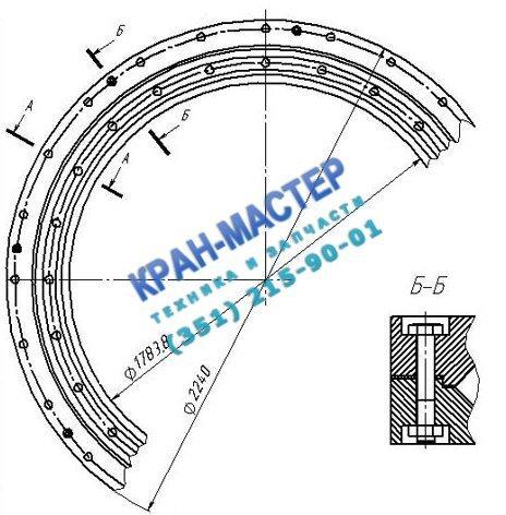 Опорно-поворотное устройство ОПУ-6, (ОП-2240.3.2.12.3.Р У1) d=2240мм (роликовое) для башенных кранов КБ-100, КБ-160, СК-3861, С-981А, КБ-306, КБ-308, КБ-309