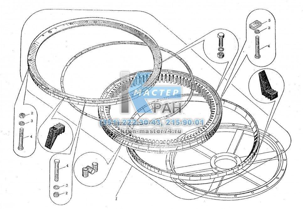 Установка опорно-поворотного устройства КС-3577.17.000 автокрана Ивановец КС-35714, КС-35715