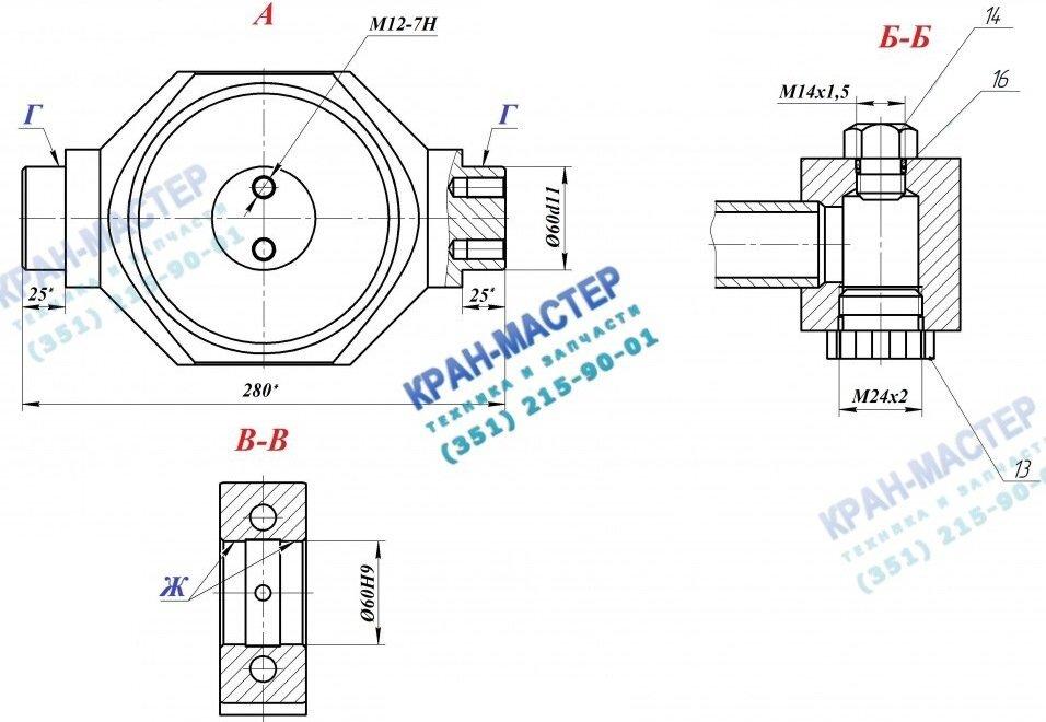 Гидроцилиндр КС-45717.63.900-1 (125х100х6000) выдвижения (втягивания) секций стрелы автокрана Ивановец КС-45714, КС-45717, КС-54711 (25т)
