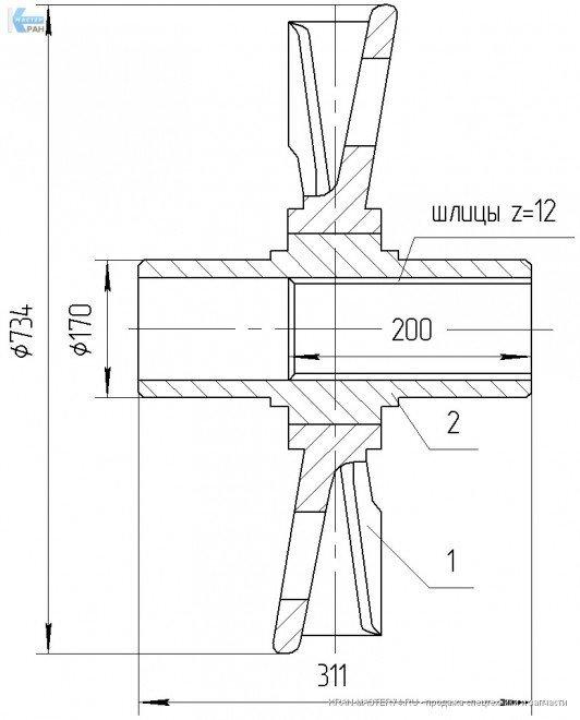 Колесо ведущее со ступицей (ведущая звездочка) 720.114-14.02.1.000 для крана РДК-250