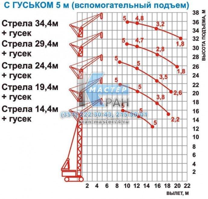 Кран гусеничный МКГ-25.01 с гуськом 5м (вспомогательный подъем)