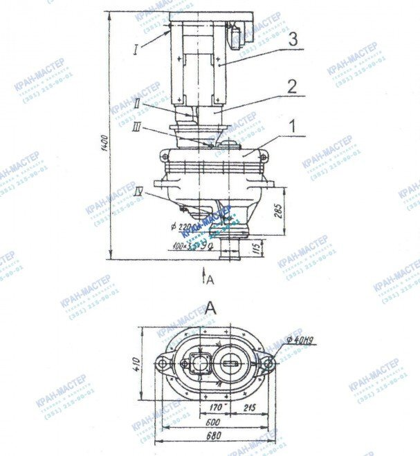 Устройство и принцип работы механизма поворота У3515 42П.1 и У3515 42С.1 для башенных кранов СК-3861, КБ-100, КБ-160, КБ-201, КБ-308, КБ-309, КБ-401, КБ-403, КБ-405, КБ-406, КБ-503, КБ-504, КБ-408, КБ-674