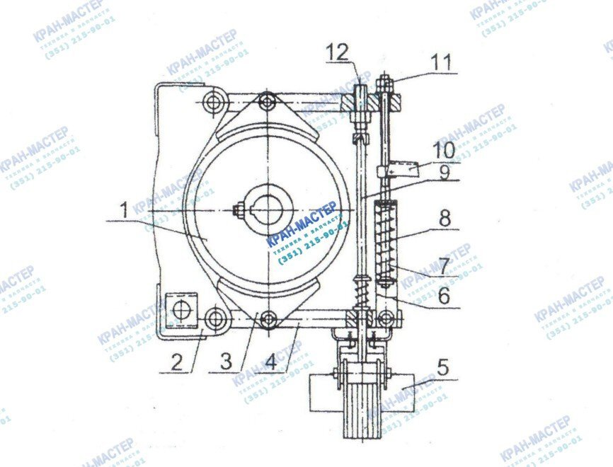 Тормоз механизма поворота механизма поворота У3515 42П.1 и У3515 42С.1 для башенных кранов