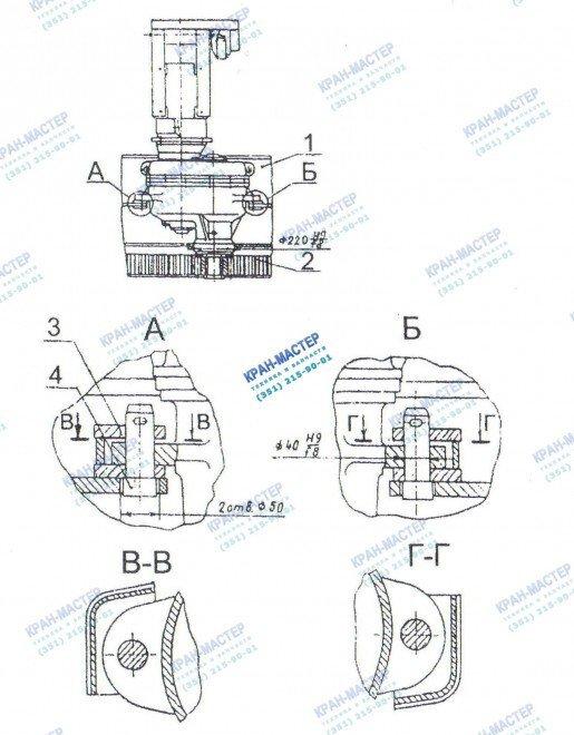 Схема монтажа механизма поворота У3515 42П.1 и У3515 42С.1 для башенных кранов