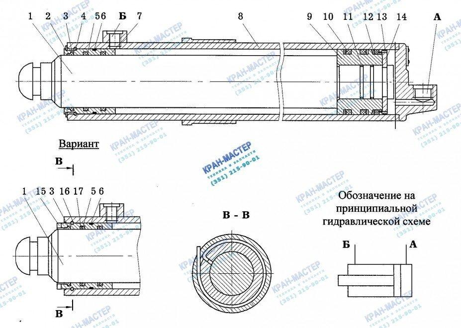 Гидроцилиндр Ц22А.000 (100х80х500) вывешивания крана Ивановец КС-3577, КС-3574, КС-35714, КС-35715 - Устройство и принцип работы