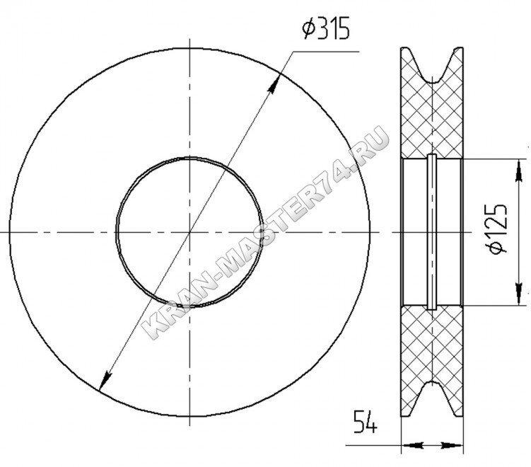 Блок полиспаста, канатный блок КС-45721А.63.34.001-01 автокрана Челябинец КС-45721 - габаритные размеры
