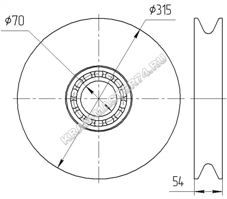 Блок полиспаста, канатный блок КС-45721А.63.34.000 (в сборе с подшипником) для автокрана Челябинец КС-45721 - габаритные размеры
