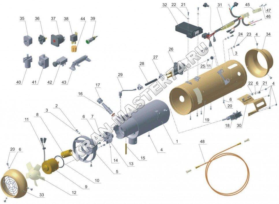 Автономный отопитель О30-0010-20 (12;24В) салона автомобилей, микроавтобусов, автокранов, экскаваторов - устройство и принцип работы