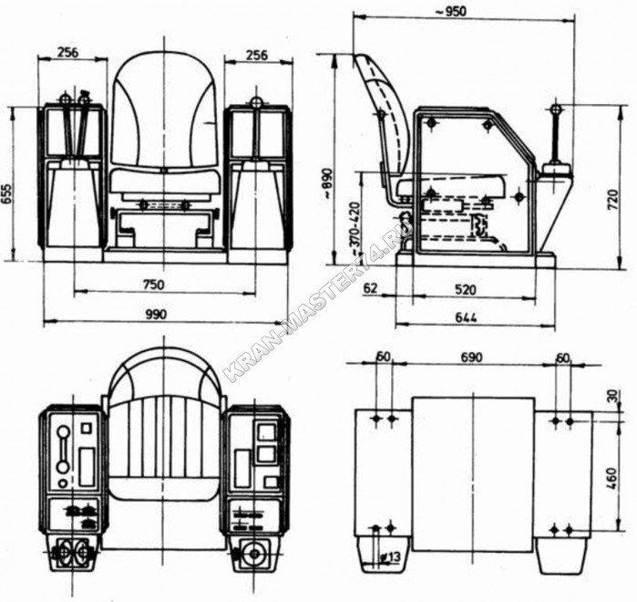 Пульты управления краном с сидением крановщика типа DVP-15, DKU-S1 для портальных, башенных, козловых и мостовых кранов - габаритные и присоединительные размеры
