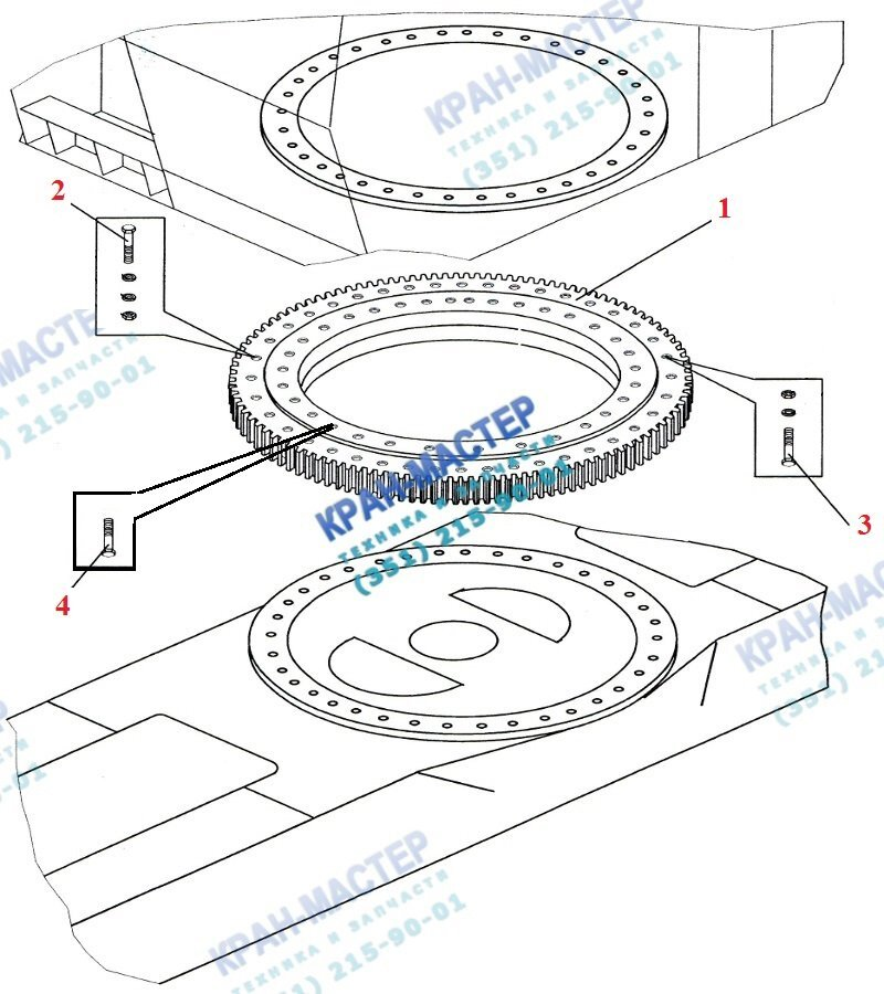 Опорно-поворотное устройство 1460 (40 отв.) для автокрана Ивановец КС-5576, Челябинец КС-55730, КС-55732