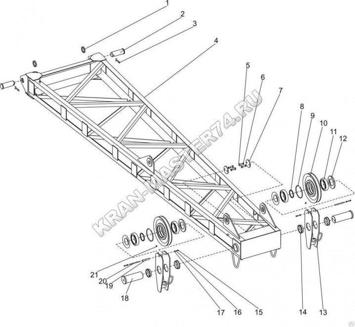 Гусек жесткий 251.20.28.000 (5 метров) для крана гусеничного ДЭК-251, ДЭК-321, ДЭК-361