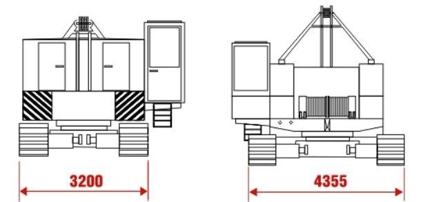Ширина колеи в транспортом и рабочем состоянии крана ДЭК-321