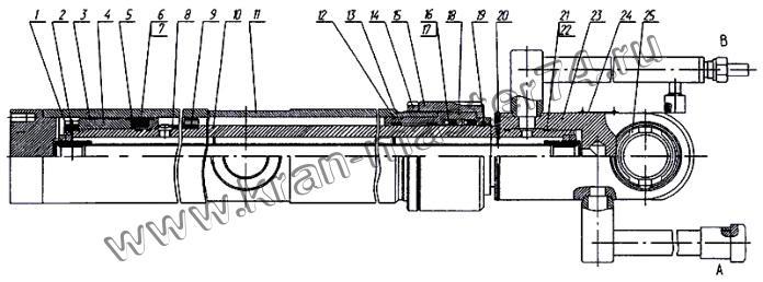 Гидроцилиндр КС-35714.63.900-1-02, КС-35714.63.900-1-04 выдвижения верхней стрелы автокрана Ивановец КС-35714, КС-35715 (стрела 3 секции)