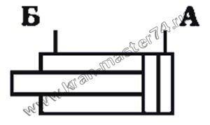Гидроцилиндр КС-35714.63.900-1-02, КС-35714.63.900-1-04  - обозначение на принципиальной гидравлической схеме