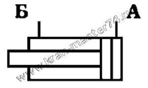 Гидроцилиндр КС-55715.63.800-3-01.   Обозначение на принципиальной гидравлической схеме
