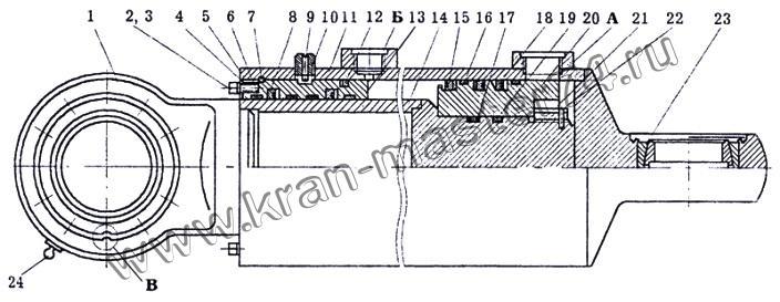 Гидроцилиндр КС-35714.63.400-1 подъма стрелы автокранов Ивановец  КС-35714, КС-35715