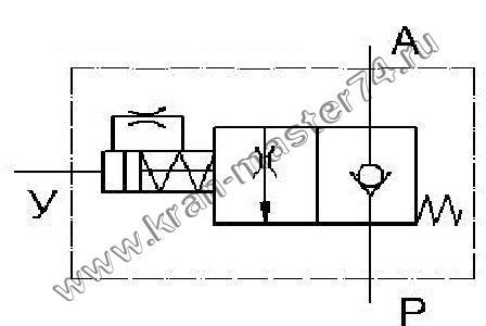 Гидроклапан тормозной ГКТ 1.16-01 - обозначение на принципиальной гидравлической схеме.