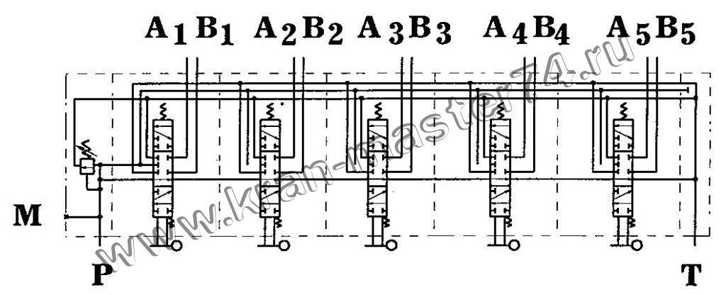 Гидрораспределитель У3.19.00.000-1 выносных опор автокрана - обозначение на гидравлической схеме.
