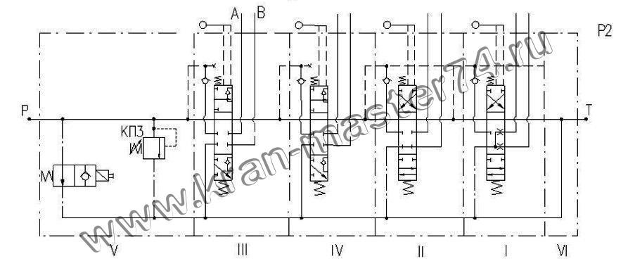 Гидрораспределитель Q160 - обозначение на принципиальной гидравлической схеме.